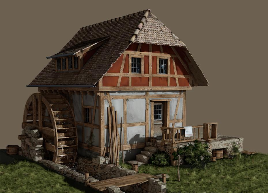 Rekonstruktion, Lebensbild, Wassermühle © Michael Stünzi