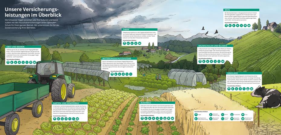 Panorama Infografik mit Schweizer Bauern © Michael Stünzi