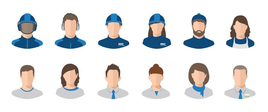 Verschiedene Charaktere für das Corporate Design von ewz © Michael Stünzi
