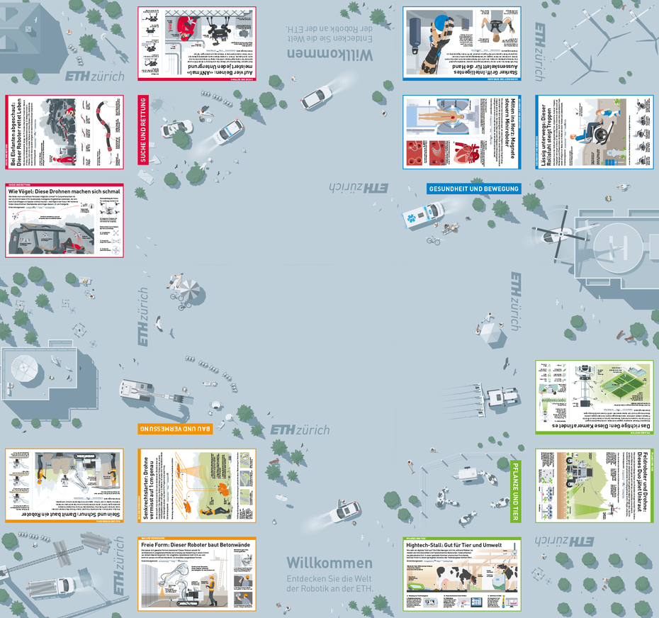 Die gesamte Bodenfläche mit allen Infografiken und der grossflächigen Illustration © Michael Stünzi