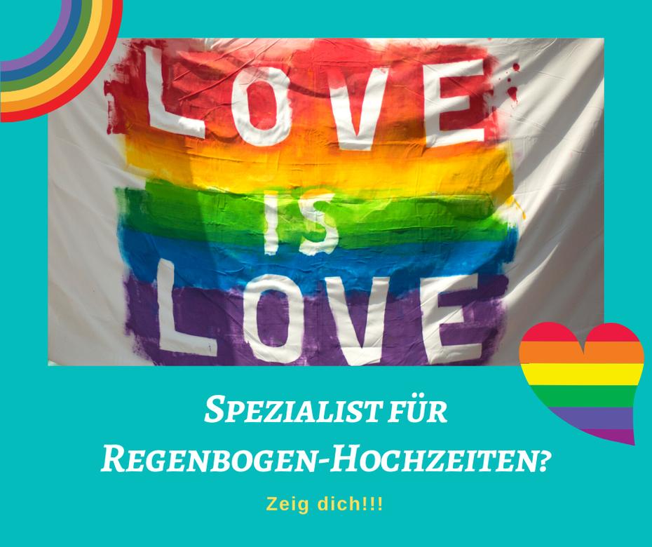 Du bist Experte für Regenbogen-Hochzeiten oder sonstige regenbogen-Events? Ich will dich unterstützen!