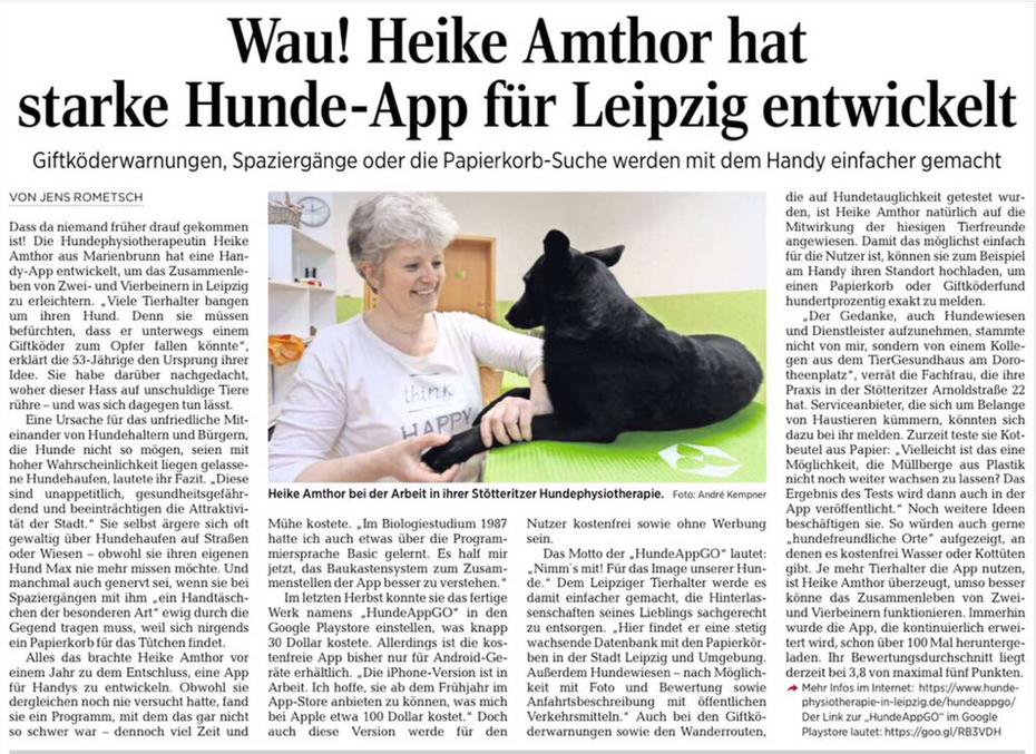 HundeAppGo  von der HundePhysiotherapie Heike Amthor in der LVZ