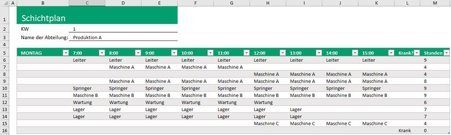 Excel Schichtplan Vorlage mit Dropdownfelder