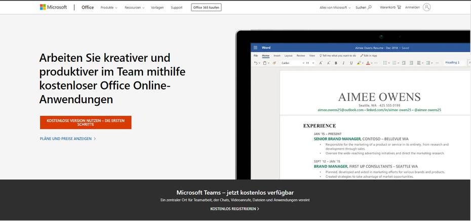 Excel gratis mit Excel online Anmeldung