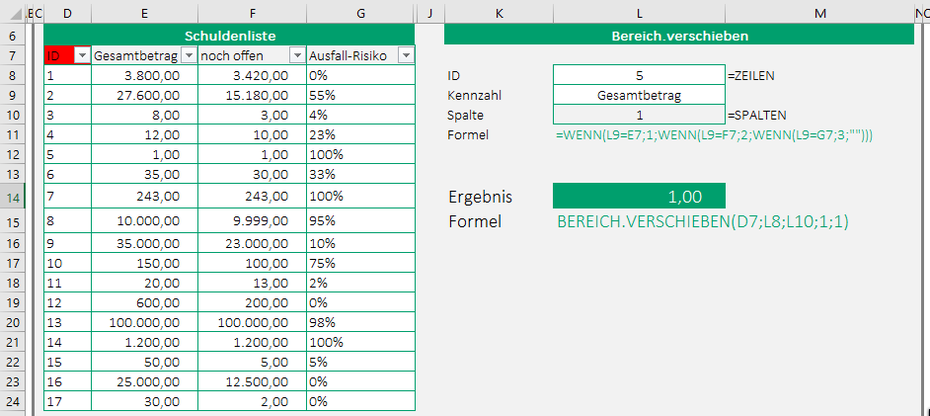 Excel Bereich.Verschieben Beispiel