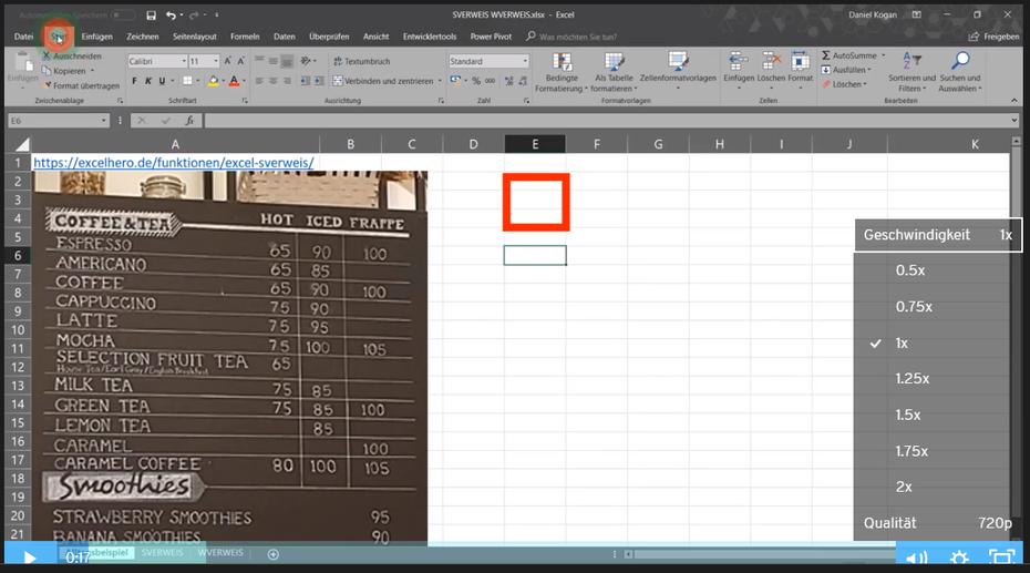 Excel Online Kurs: Geschwindigkeit anpassen