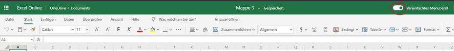 Menüband anpassen in Excel online