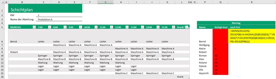 Excel Dropdown ohne Leerzeichen und schon benutzten Werten