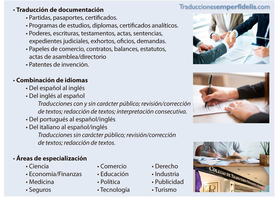 Traducción de documentación. Combinación de idiomas. www.traduccionesemperfideleis.com