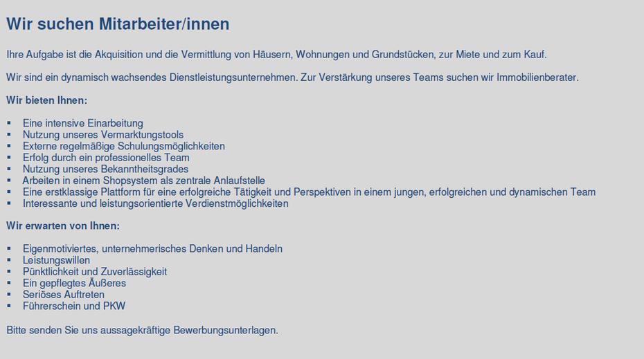 Karriere Jobs Homepage Wegner Immobiliens Webseite