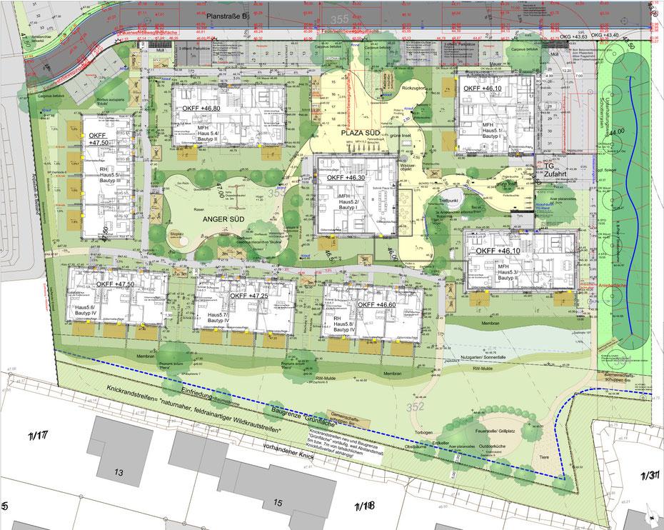 Offenes Gelände mit autofreien Innenhöfen und Gemeinschaftsflächen