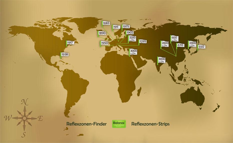 Historische Weltkarte der Reflexzonenbehandlung von Balnaox. Grafik: RAUCHpower