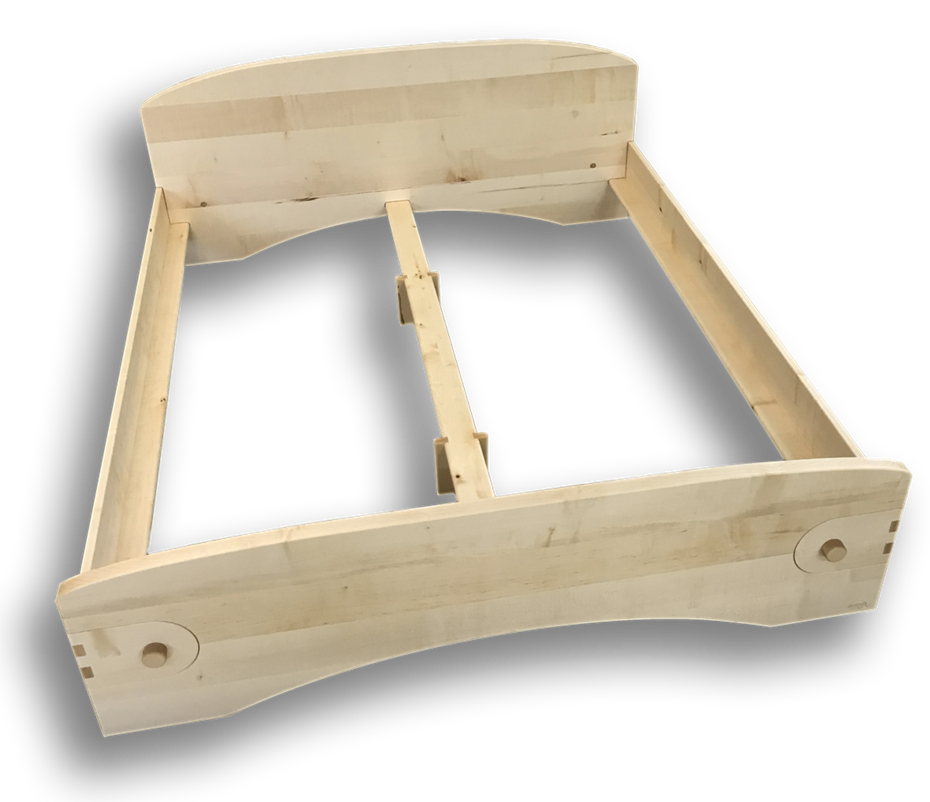 metallfreies Bett Ahorn massiv, Holzschrauben, Fingerzinkenverbindung