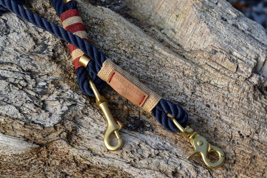 Tauwerk NAVY | Takling SAND + BORDEAUX / SAND geblockt | Beschlag MESSING