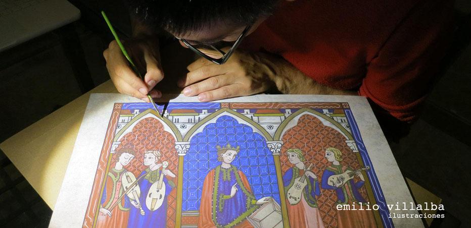 """Dorando una de las ilustraciones medievales: """"Cantigas"""""""