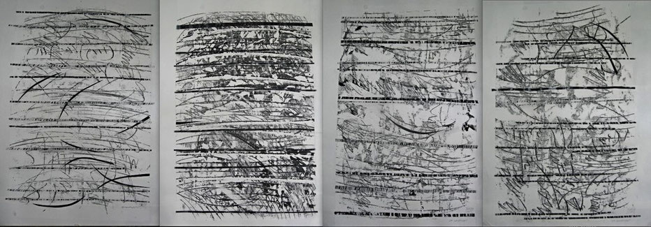 from a moravian summer / composition in four movements 2011     monotype prints   ink on rice paper  110  x  75 cm (each)