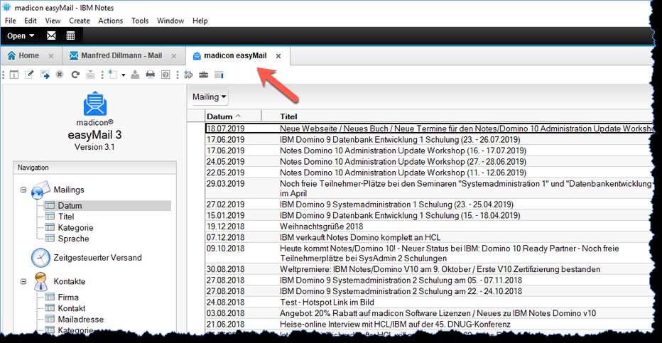 """Anwendung """"madicon easyMail"""" öffnet sich in einem neuen Register"""