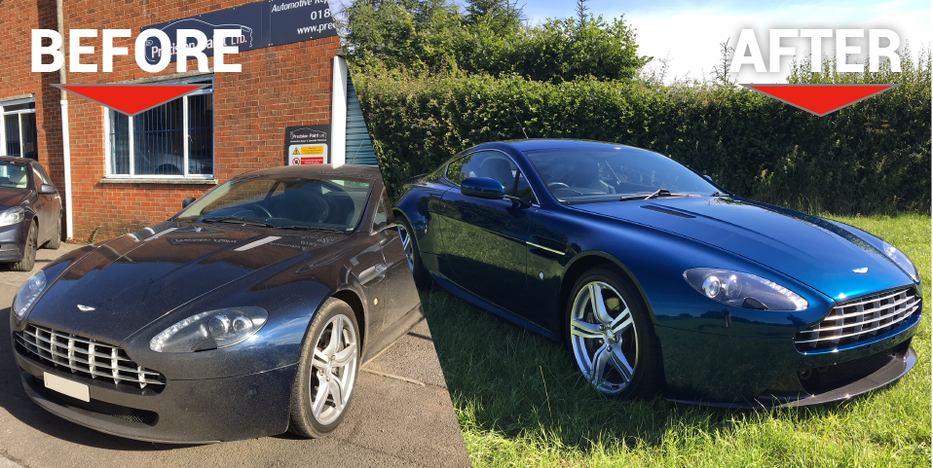 Aston Martin V8 Vantage Before and After Body Work Carried out by Precision Paint Wellington