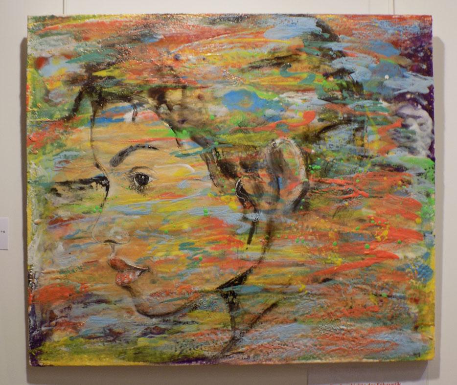 Wachsmalerei, Enkaustik, encaustic, Wachs, Porträt, Portrait, bunt, abstrakte kunst,Frau GEsicht  Auftragsarbeit, Angelika Haßenpflug, living art, malen kunst