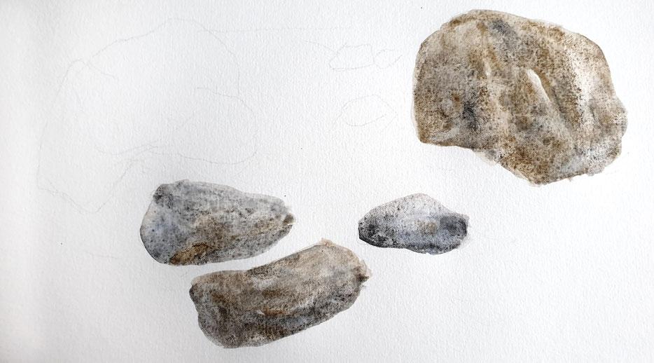 Steine malen mit Aquarellfarben