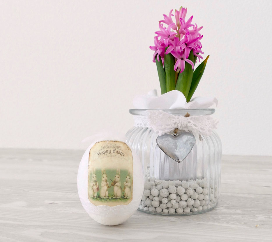 Frühlings- Osterdekoration DIY Hyazinthe im Glas