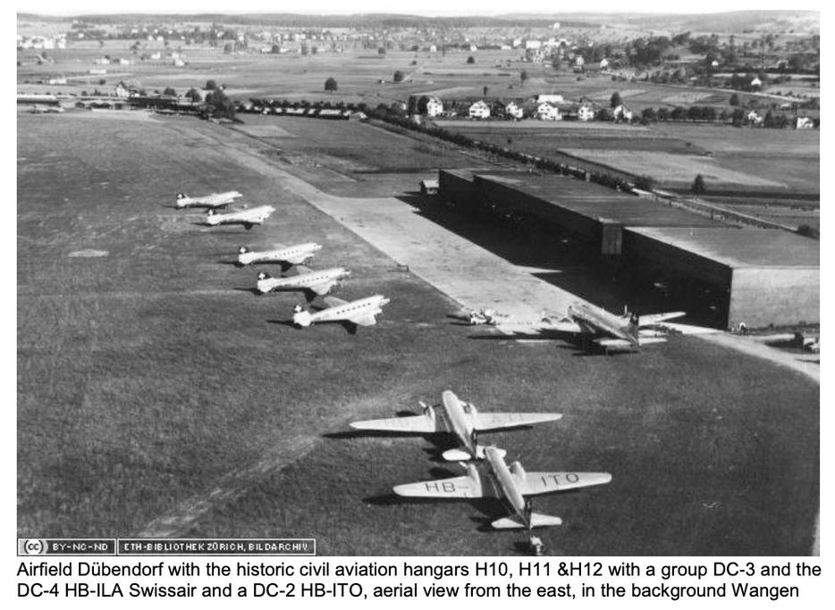 «historische Bundesbasis 1932» als Airfield Dübendorf (Hangar H10, H11 und H12) | Quelle: ETH Bibliothek