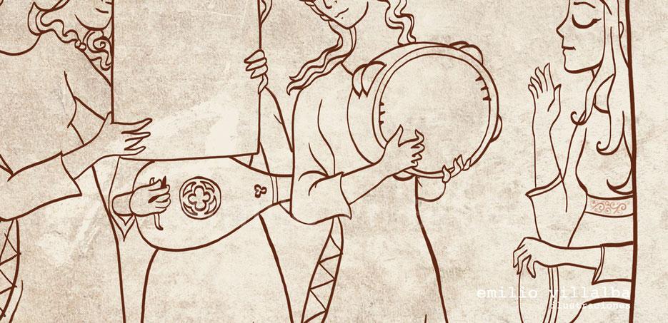"""Ilustración """"Trovadoras"""" (detalle) Contorno del dibujo."""