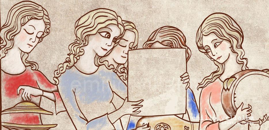 """Ilustración """"Trovadoras"""" (detalle) Primeras capas de color."""
