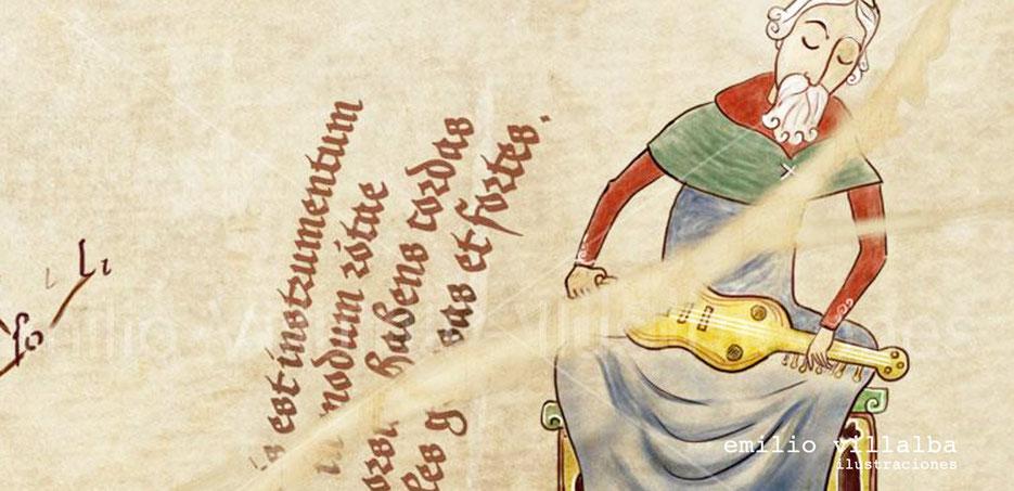 """Detalle de un roto en el pergamino en la ilustración """"Organistrum""""."""