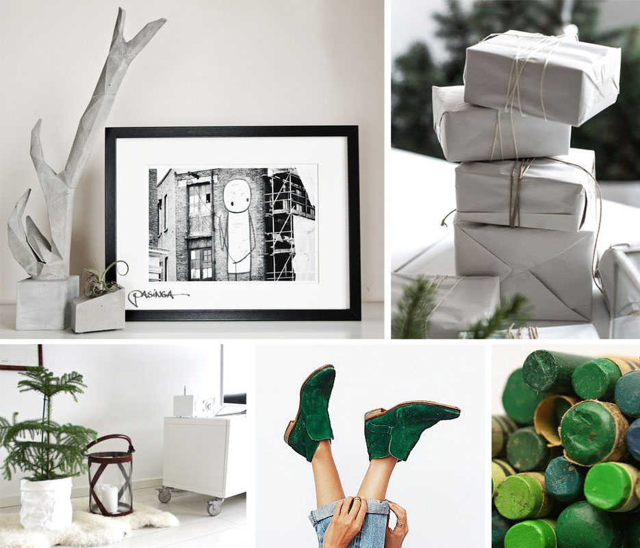 Green and white the contrast of the winter season, images via Pinterest and PASiNGA