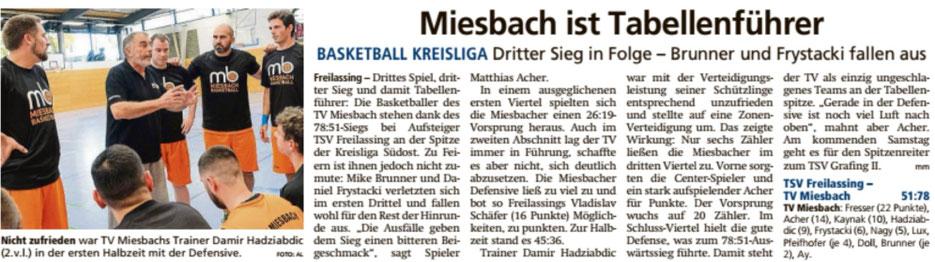 Bericht im Miesbacher Merkur am 5.11.2019 - zum vergrößern klicken