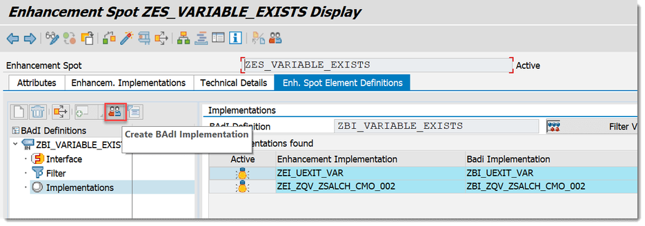 SAP BW/4HANA Create BAdI Implementation