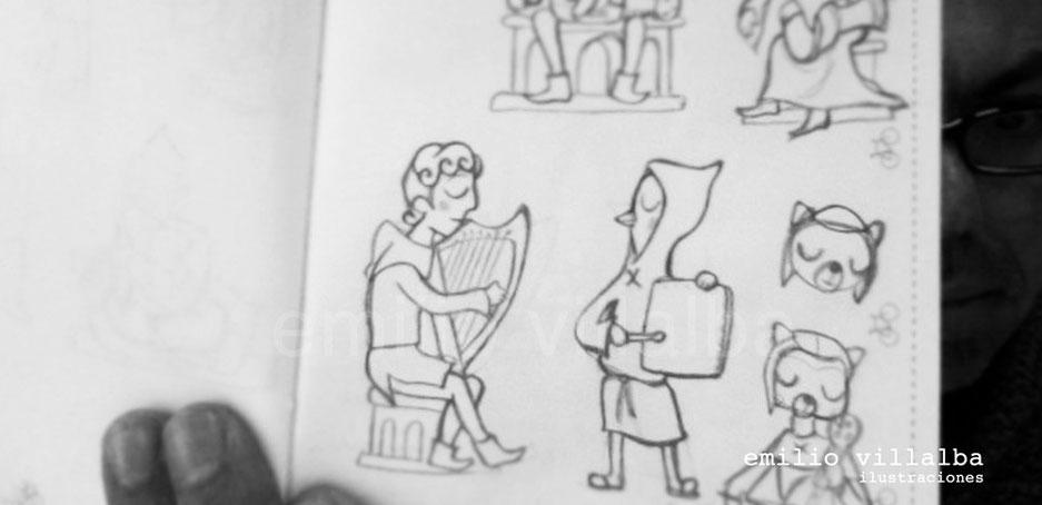 Bocetos preliminares para elaborar el juego de cartas. El arpista tomó forma de lobo, finalmente.