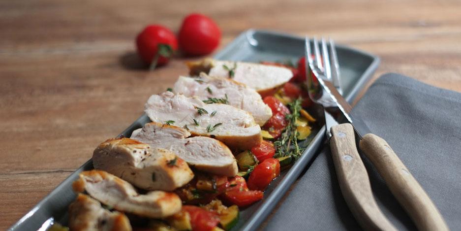 Kerstins Keto, Gebratenes Hühnerbrust Filet mit Zucchini und Tomaten