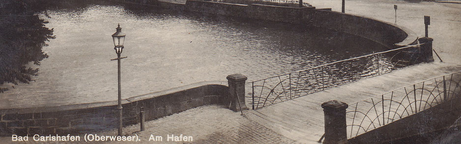 Die Brücke am Hafen von Carlshafen, eine Aufnahme Ende der 1920er /Anfang der 1930er Jahre