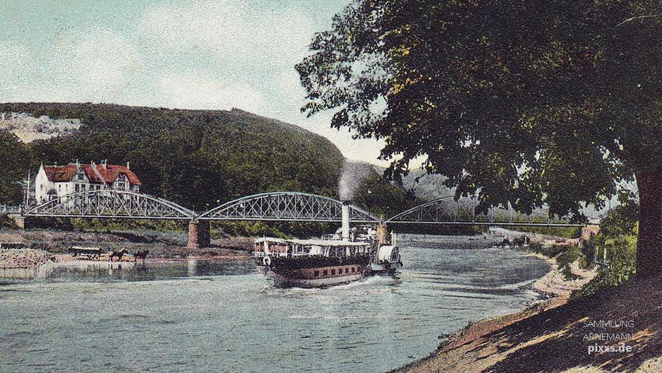 Carlshafen Weserbrücke - Karte von L. Müller um 1910-20er mit Dampfer