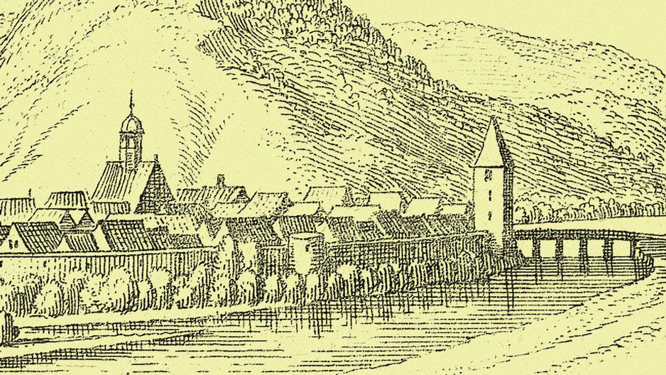 Helmarshausen hatte bereits im 17. Jahrhundert eine Brücke im östlichen Bereich der Stadt (Abb. n. Merian um 1650)