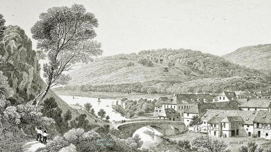 Die Diemelbrücke von Karlshafen um 1825 (Ausschnitt von einem Stich von Robert Batty)
