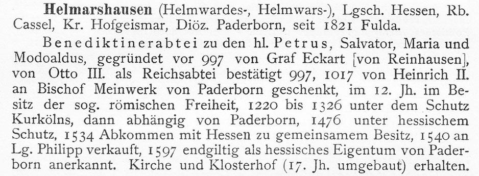 Auszug aus Wilhelm Dersch, Hessisches Klosterbuch, Marburg 1915