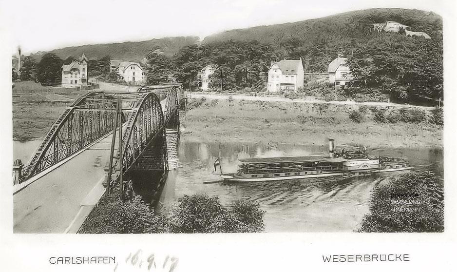 Carlshafen Die Weserbrücke in den 1910er Jahren (datiert 1917 Verlag L. Müller)