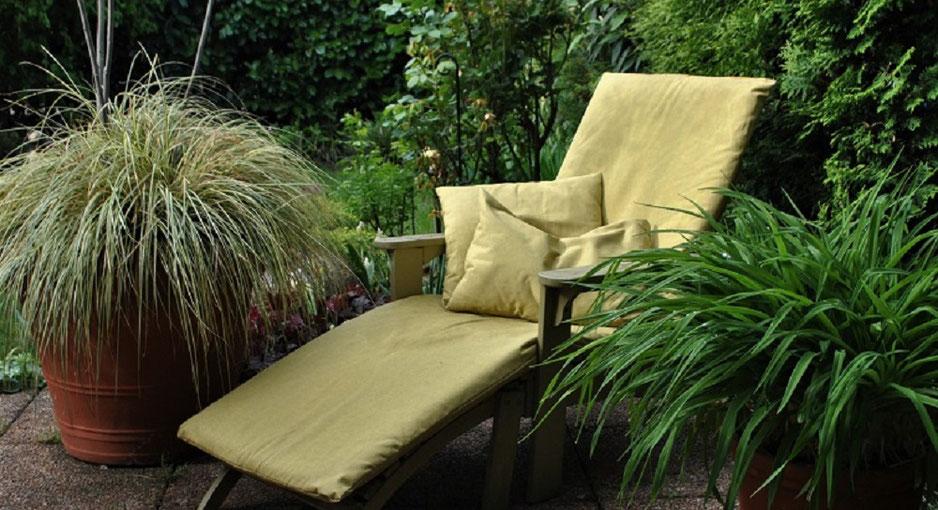 Stuhlauflagen selbstgenäht - mein Garten