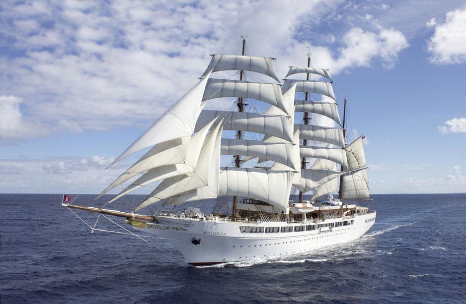 Segelkreuzfahrten im Mittelmeer, Kanarische Inseln Karibik, Südsee Segelurlaub mit Großseglern Sea Cloud und Sea Cloud II (c) Foto Sea Cloud