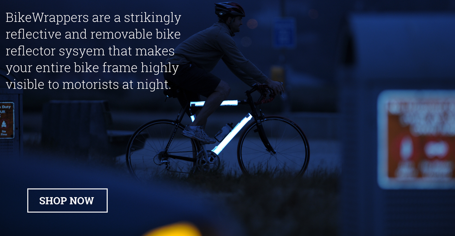 BikeWrappers are a strikingly reflective and removable bike reflector system that makes your entire bike frame highly visible to motorist at night AND gives your bike a little style during the day.