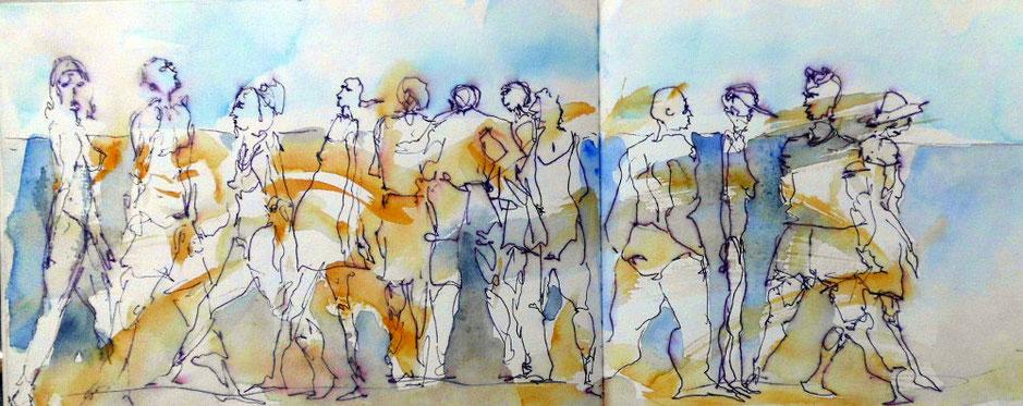 Menschan am Strand, Füller, Aquarellfarbe, Alicante/San Juan, blau-orange