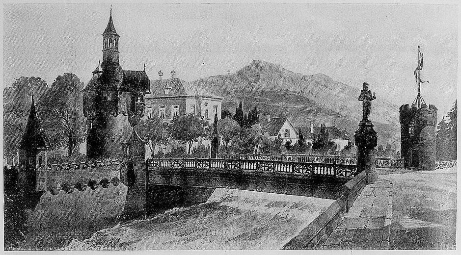 Bild der Brücke aus dem Buch Freiburg im Breisgau. Die Stadt und ihre Bauten 1898
