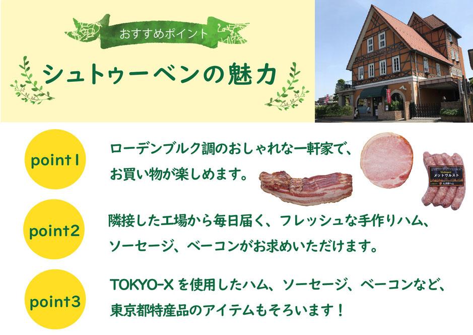 お買い物ツアーのおすすめポイント。TOKYO-Xハム、ドイツ式ベーコン、無添加ソーセージなどがお買い求めいただけます。