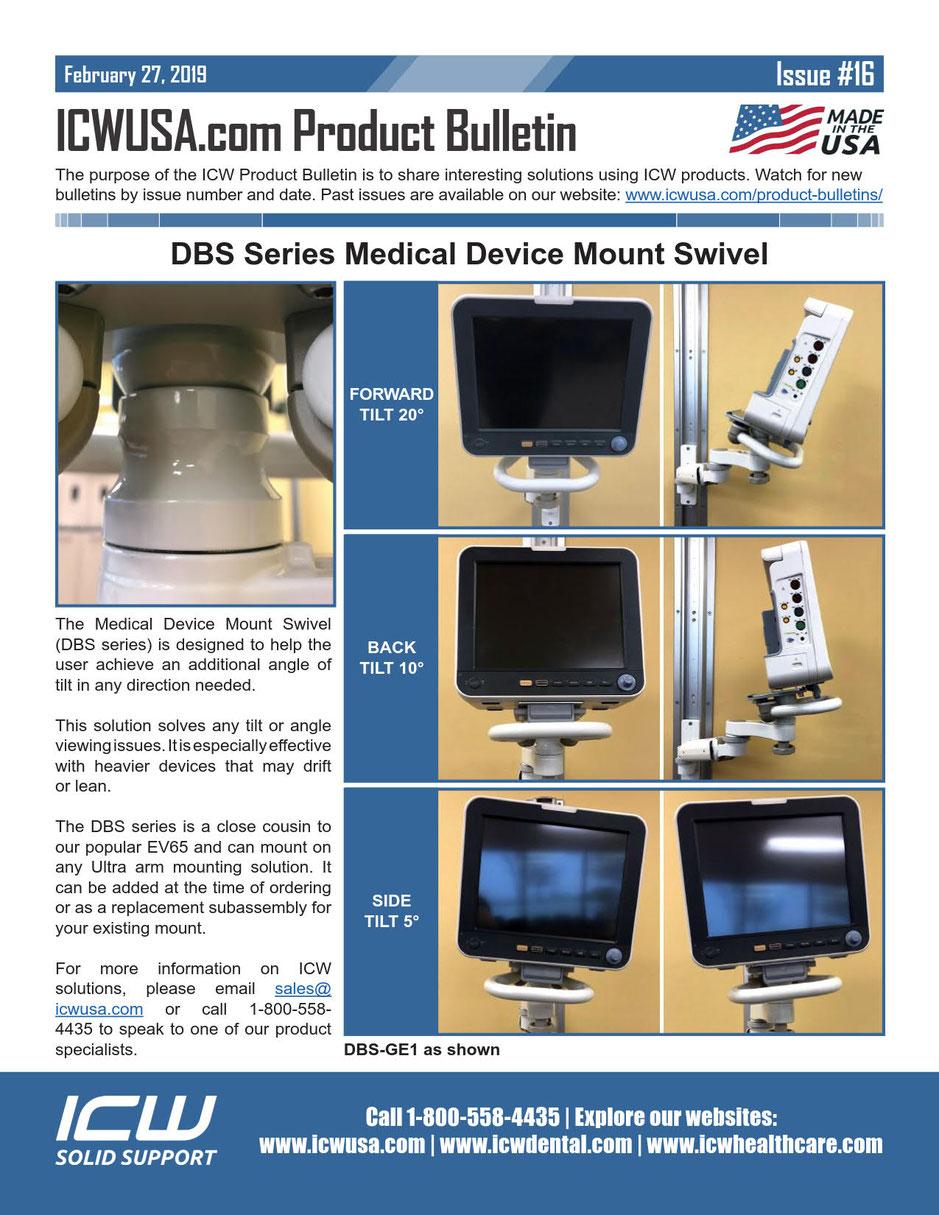 ICWUSA 生体情報モニターほか医療用モニター用アーム DBSシリーズ
