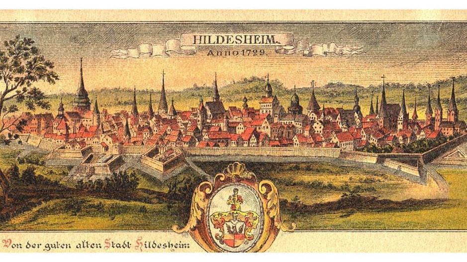 Stadtansicht Hildesheim um 1729, imposante Stadtmauer und viele Kirchtürme