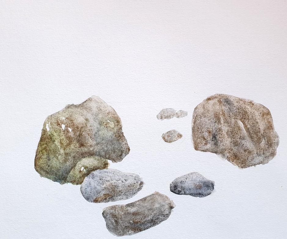 Aquarelle mit Steinen