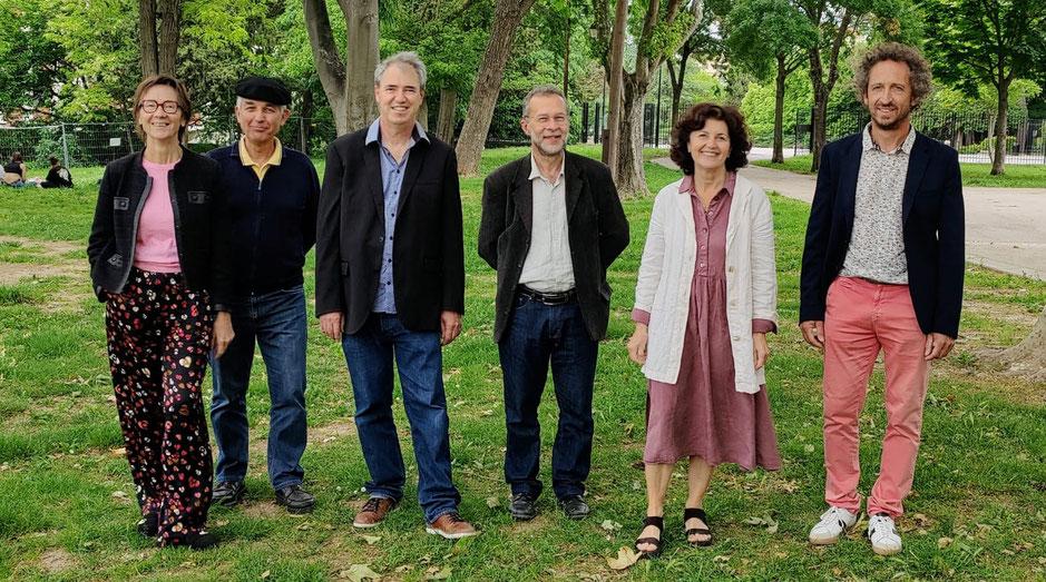 De gauche à droite: Anne-Marie Hautant (Vaucluse), Michèu Prat (Hautes-Alpes), Hervé Guerrera (Bouches-du-Rhône), Pascal Recotillet (Alpes-de-Haute-Provence), Anne-Marie Sgaravizzi-Garcia, Didier Cade (Var)